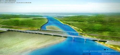 Hợp long cầu Kỳ Lam thuộc cao tốc Đà Nẵng - Quảng Ngãi